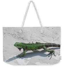 Green Iguana Walking Across A Pathway On The Beach Weekender Tote Bag by DejaVu Designs