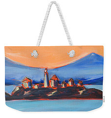 Weekender Tote Bag featuring the painting Green Island Lighthouse by Yulia Kazansky
