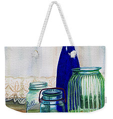Weekender Tote Bag featuring the painting Green Jars Still Life by Marilyn Smith