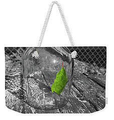 Green Leaf In A Bottle Weekender Tote Bag by John Rossman