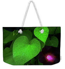 Weekender Tote Bag featuring the photograph Green Leaf Violet Glow by Roger Bester