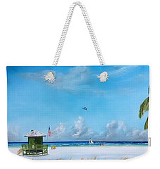 Green Lifeguard On Siesta Key Weekender Tote Bag