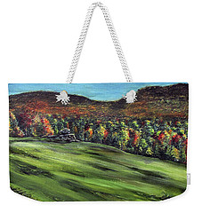 Weekender Tote Bag featuring the painting Green Mountain Retreat by Denny Morreale