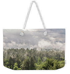 Green Mountains Fog Panoramic Weekender Tote Bag