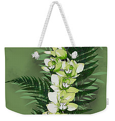 Weekender Tote Bag featuring the digital art Green Orchid by Mariella Wassing