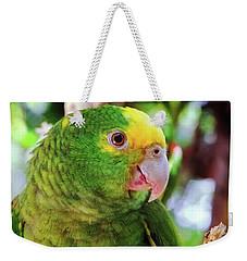 Green Parrot Weekender Tote Bag