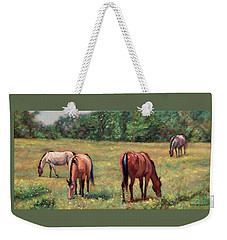 Green Pastures - Horses Grazing In A Field Weekender Tote Bag by Bonnie Mason