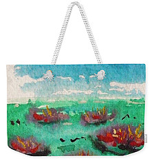 Green Pond With Many Flowers Weekender Tote Bag