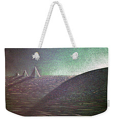 Weekender Tote Bag featuring the drawing Green Pyramid B by Mayhem Mediums