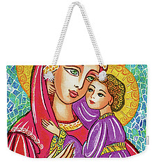Weekender Tote Bag featuring the painting Green Ray Madonna by Eva Campbell