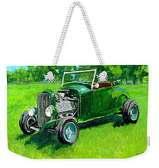 Green Roadster Hot Rod Weekender Tote Bag