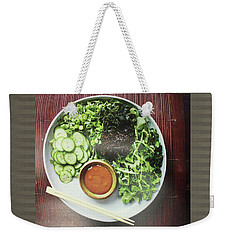 Weekender Tote Bag featuring the photograph Green Salad Presentation Chef Cuisine Kitchen Lifestyle Christmas Holidays Birthday Festivals Mom  by Navin Joshi