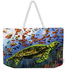 Green Sea Turtle Weekender Tote Bag by Randy Sprout