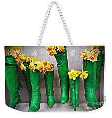 Green Shoes For Yellow Spring Flowers Weekender Tote Bag