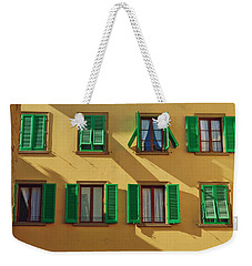 Green Shutters Of Florence Weekender Tote Bag by Patricia Strand