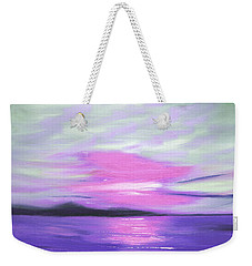 Green Skies And Purple Seas Sunset Weekender Tote Bag