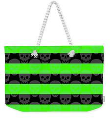 Green Skull Stripes Weekender Tote Bag
