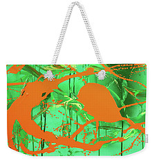 Weekender Tote Bag featuring the painting Green Spill by Thomas Blood