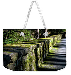 Weekender Tote Bag featuring the photograph Green Stone Wall by James Barber