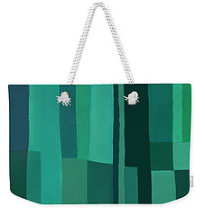 Weekender Tote Bag featuring the digital art Green Stripes 1 by Elena Nosyreva