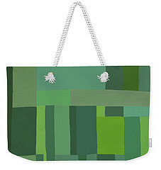 Weekender Tote Bag featuring the digital art Green Stripes 2 by Elena Nosyreva