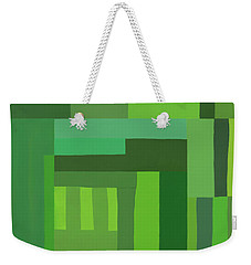 Weekender Tote Bag featuring the digital art Green Stripes 3 by Elena Nosyreva