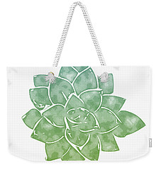 Weekender Tote Bag featuring the mixed media Green Succulent 1- Art By Linda Woods by Linda Woods