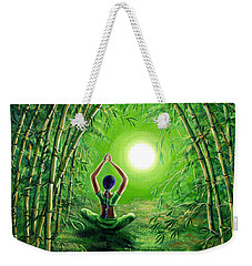 Green Tara In The Hall Of Bamboo Weekender Tote Bag by Laura Iverson