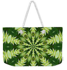 Weekender Tote Bag featuring the photograph Green Thistle Medallion by Shirley Moravec