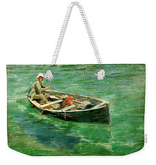 Weekender Tote Bag featuring the painting Green Waters by Henry Scott Tuke