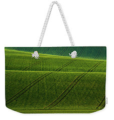 Weekender Tote Bag featuring the photograph Green Waves Of Rolling Hills by Jenny Rainbow