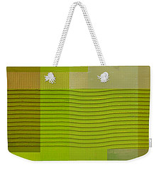 Green With Wavy Stripes Weekender Tote Bag by Michelle Calkins