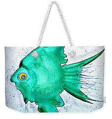 Weekender Tote Bag featuring the mixed media Greenfish by Walt Foegelle