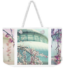 Weekender Tote Bag featuring the photograph Greenhouse Blossoms Triptych by Jessica Jenney