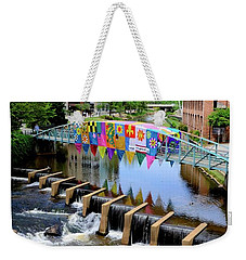 Weekender Tote Bag featuring the photograph Greenville River Walk by Corinne Rhode