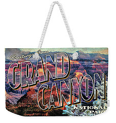 Weekender Tote Bag featuring the painting Greetings From Grand Canyon National Park by Christopher Arndt