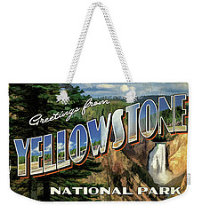 Weekender Tote Bag featuring the painting Greetings From Yellowstone National Park by Christopher Arndt