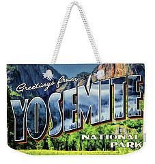 Weekender Tote Bag featuring the painting Greetings From Yosemite National Park by Christopher Arndt