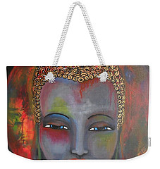 Weekender Tote Bag featuring the painting Grey Buddha In A Circular Background by Prerna Poojara