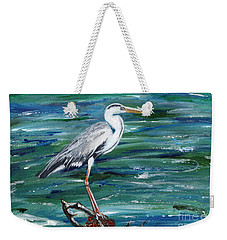 Grey Heron Of Cornwall -painting Weekender Tote Bag