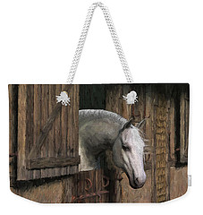 Grey Horse In The Stable - Waiting For Dinner Weekender Tote Bag
