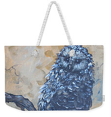 Weekender Tote Bag featuring the painting Grey Owl1 by Laurianna Taylor