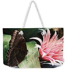 Grey Pansy Pink Bromeliad Weekender Tote Bag