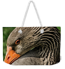 Greylag Goose Portrait  Weekender Tote Bag by Gary Whitton