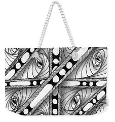 Weekender Tote Bag featuring the drawing Gridlock by Jan Steinle