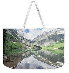 Grinnell Lake Mirrored Weekender Tote Bag by Alpha Wanderlust