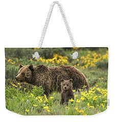 Grizzlies In The Wildflowers Weekender Tote Bag