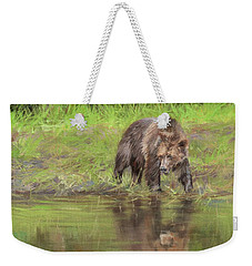 Grizzly Bear At Water's Edge Weekender Tote Bag
