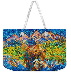 Weekender Tote Bag featuring the painting Grizzly Catch In The Tetons by Dan Sproul