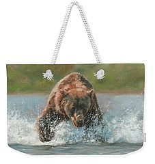 Grizzly Charge Weekender Tote Bag by David Stribbling